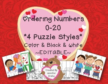 Valentine Number Ordering Puzzles 0-20; Color & B&W  **EDITABLE**