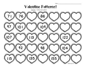 Valentine Number Patterns Pack!--9 Leveled Worksheets