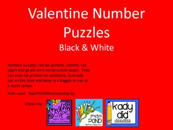 Valentine Number Puzzle Black & White