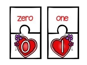 Valentine Number Puzzles 0-20