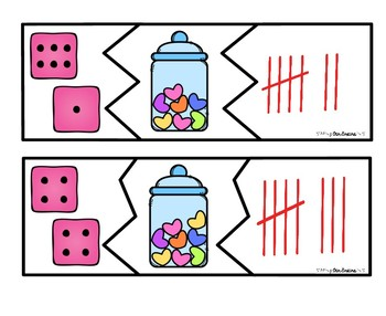 VALENTINE Number Puzzles 1-10 - Dice, Pictures, & Tally Marks