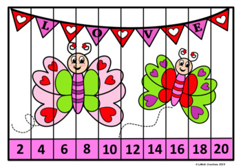 Valentine Number Puzzles (1-20, skip counting by 2, 5 & 10 for every image!)