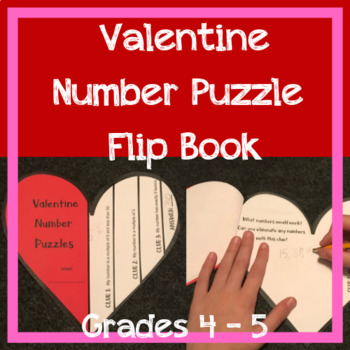 Valentine Number Puzzles FLIP BOOK -- Grades 4 and 5