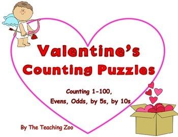Valentine Number Puzzles HUGE Bundle! {1-100, evens, odds,