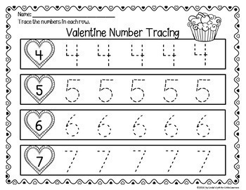 Valentine Number Tracing 0-10 Printables