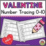 Valentine's Day Number Tracing 0-10 Printables