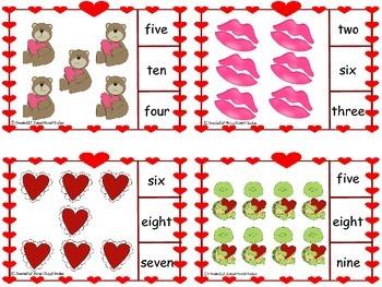 Valentine Number Word Clip Cards