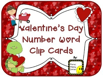 Valentine Number Word Clip Cards