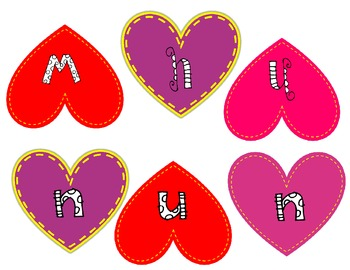 Valentine Number Word Game
