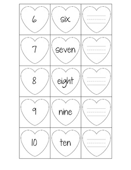 Valentine Number Word Writing