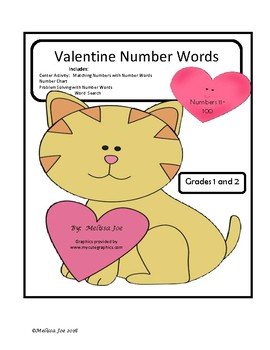 Number Words Valentine Theme
