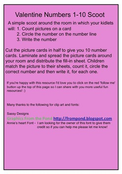 Valentine Numbers 1-10 Scoot - Common Core Aligned