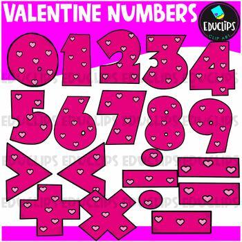 Valentine Numbers Clip Art Bundle {Educlips Clipart}