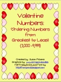 Valentine Numbers:  Ordering Numbers from Greatest to Least 1,000-9,999