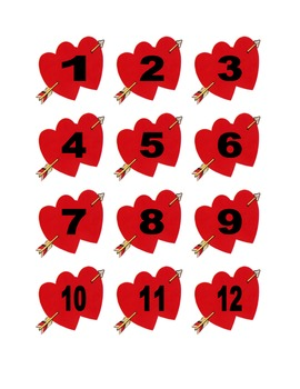 Valentine Numbers for Calendar or Math Activity
