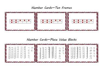 Valentine Number Cards--Standard, Word, Expanded Form; 10 Frame & Base 10 Blocks