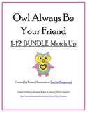 Valentine OWL Addition 1-12 Bundle Matching Game
