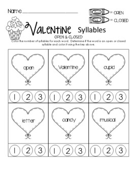 Valentine Open & Closed Syllables
