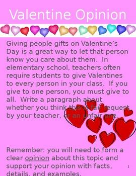 Valentine Opinion Writing