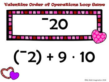 Valentine Order of Operations Loop Game