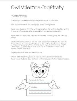 Valentine Owl Bulletin Board & Craftivity +bonus frames, dot-to-dot & pencil top
