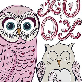 Valentine Owl Clip Art - Pink and Purple Whimsical Owl ClipArt