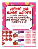 Valentine Owl Number Match 1-20