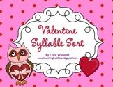 Valentine Owl Syllable Sort