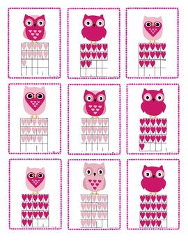 Valentine Owl Ten Frame Math Cards Numbers 11-20