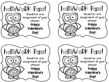 Valentine & Owl Themed From the Teacher Bookmarks and Homework Pass FREEBIE!