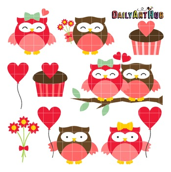 Valentine Owls Clip Art - Great for Art Class Projects!