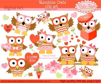 Valentine Owls Clipart Set 1 Valentine Clip Art