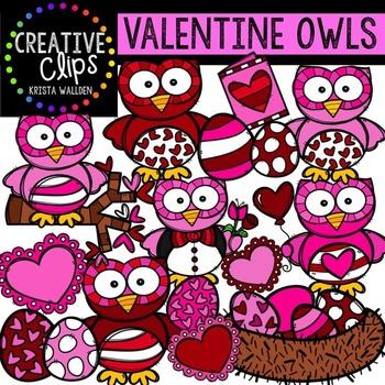 Valentine Clipart Owls {Creative Clips Digital Clipart}