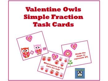 Valentine Owls Fraction Task Cards - FREEBIE!