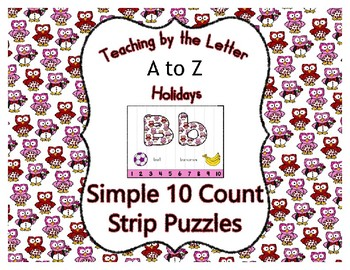 Valentine Owls ~ Teaching by the Letter Simple Holiday Strip Number Puzzles