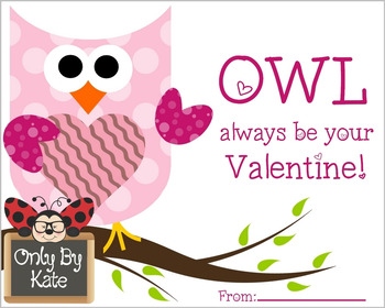 Valentine Owls, Valentine's Day Cards, Print Your Own