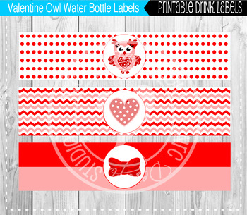 Valentine Owls Water Bottle Labels - Classroom Decoration, Party Printable