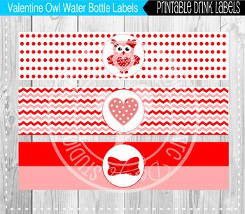 graphic regarding Water Bottle Labels Printable titled Valentine owls h2o bottle labels printable