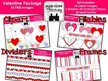 Valentine Package {Clipart, Frames, Dividers & Fillables}