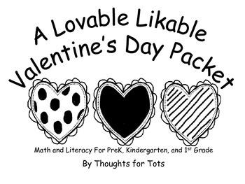 Valentine Packet, Math and Literacy for PreK, Kindergarten