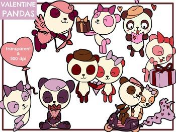 Valentine Pandas (Digital Clip Art)