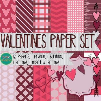Digital Paper and Frame Set- Valentines