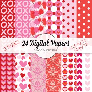 Valentine Paper, Valentines Day, Hearts, Digital Paper, Valentine Damask