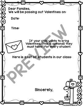 Valentine's Day Party Letter Free Editable