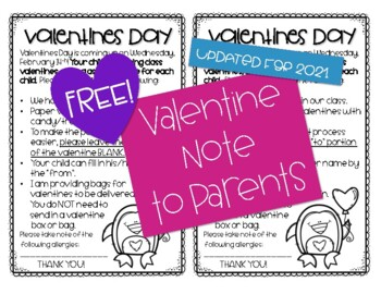 Valentine Parent Note