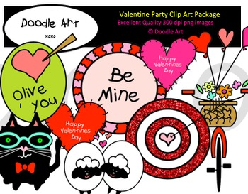 Valentine Party Clipart Pack