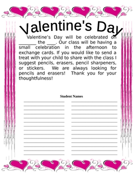 Valentine Party Flyer in Spanish and English with Blanks for Names