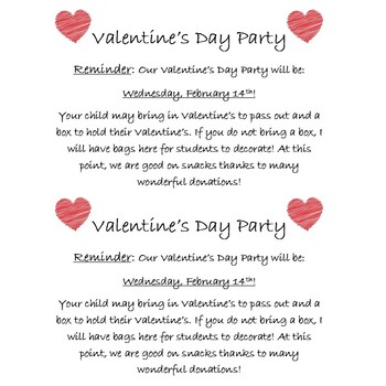 Valentine Party Invite and Reminder