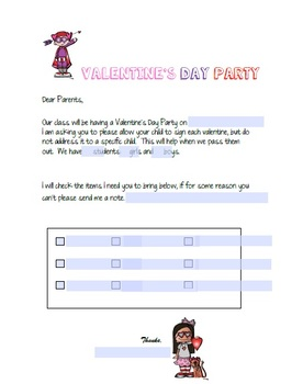Editable Valentine's Day Party Letter