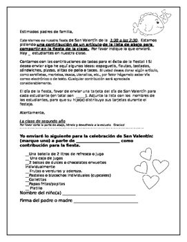 Valentine Party Letter English and Spanish